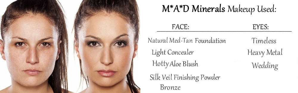 before and after wearing mad minerals makeup