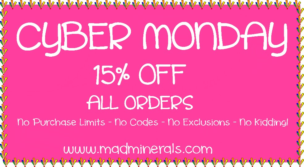CYBER MONDAY 15% OFF ALL ORDERS NO EXCLUSIONS
