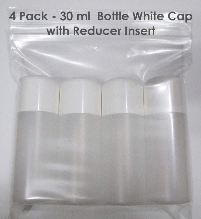 4 PACK - 30ml BOTTLES WHITE CAP WITH REDUCER INSERT
