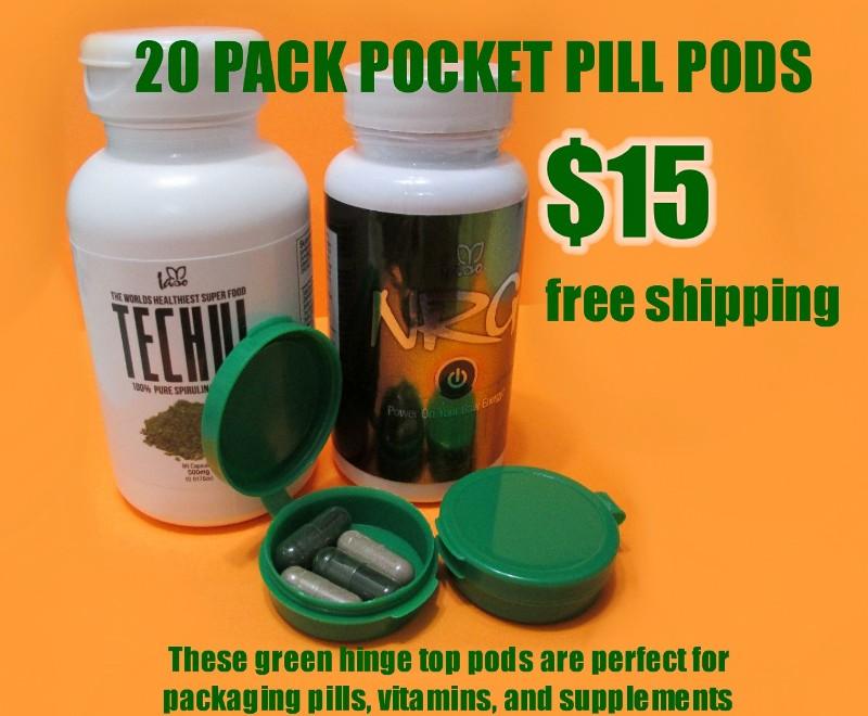 20 Pack Hinge Top Pocket Pill Pods - Green