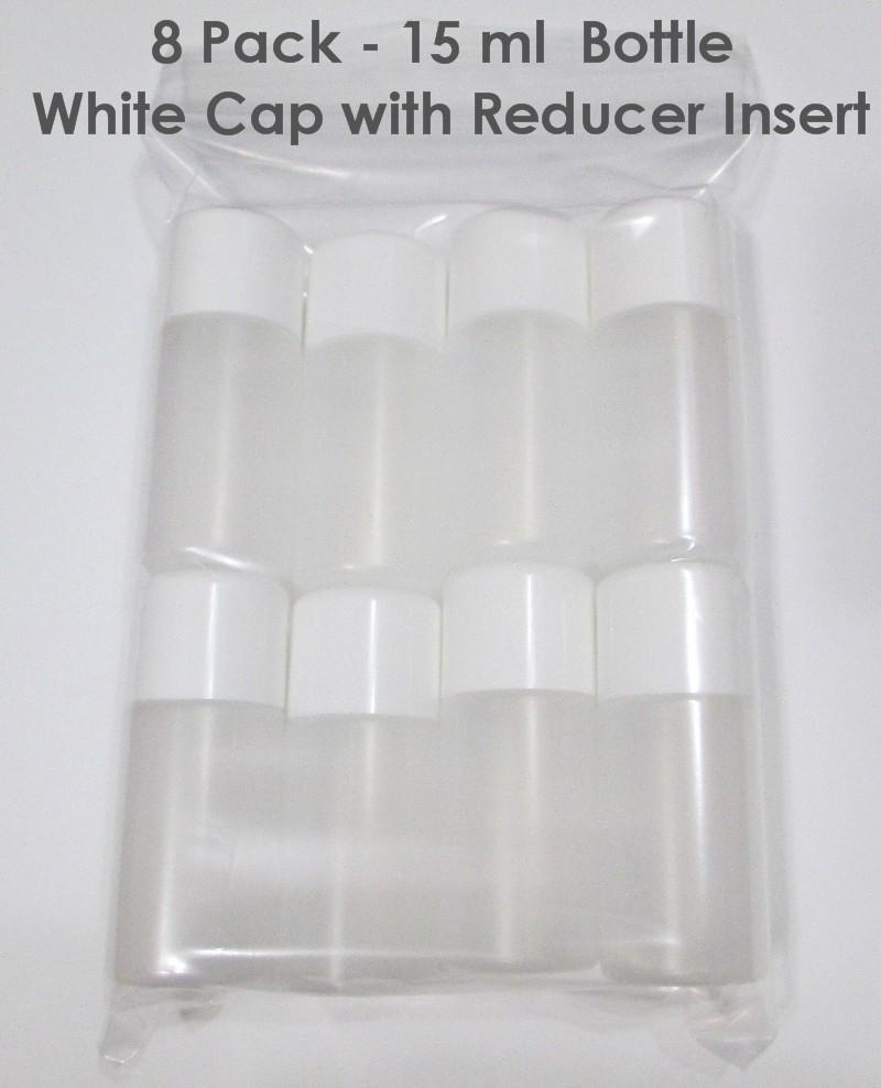 8 PACK - 15ml BOTTLES WHITE CAP WITH REDUCER INSERT