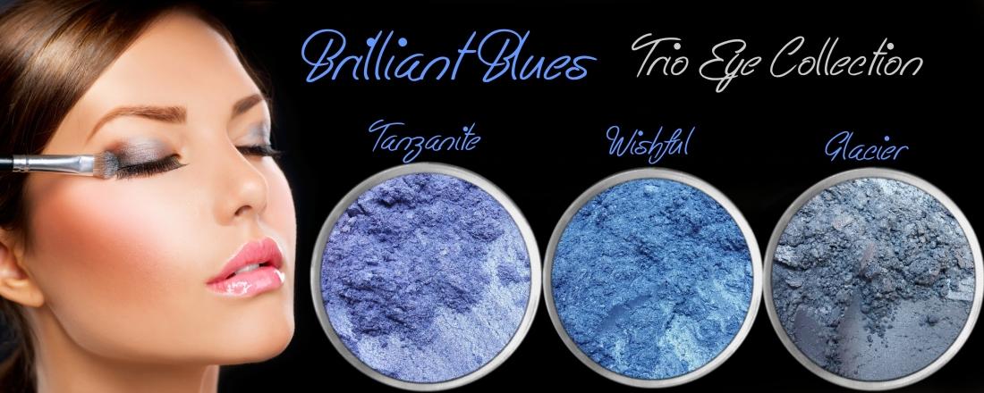3 PIECE BRILLIANT BLUES TRIO MINERAL EYE COLLECTION SET