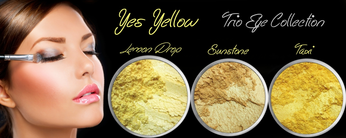 3 PIECE YES YELLOW TRIO MINERAL EYE COLLECTION SET